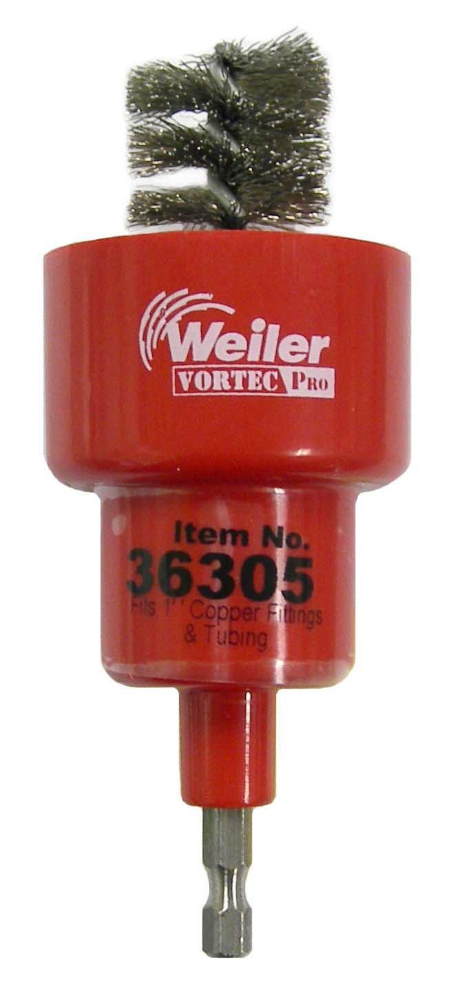 Weiler Turbo Tube Brush, Stainless Steel 302, Round Shank, Single Stem, 1/2' Inside Diameter, 5/8' Outside Diameter, 0.008' Wire Diameter, 1/4' Shank, 1000 rpm (Pack of 1) 1/2 Inside Diameter 5/8 Outside Diameter 0.008 Wire Diameter 1/4 Shank 36303