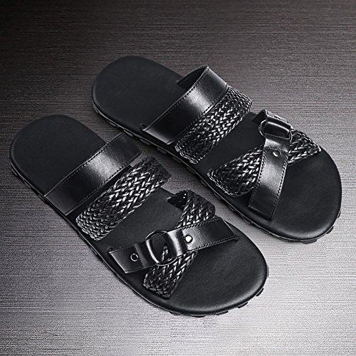 44 pelle ZJM sandalo pantofola Sandalo confortevole spiaggia open in da uomo antiscivolo morbida con morbida in taglia Scarpe nero metallo pelle toe e 38 44 ornamento in dimensioni con Sandalo rCCqwt