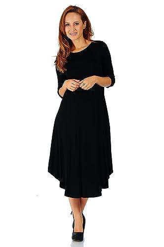 e5919400592 Simply Ravishing Rayon Span 3 4 Sleeve Rounded Hem Mid-Length Maxi Dress
