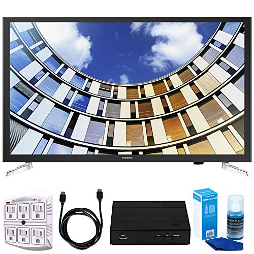 Samsung 32 LED 1080p 5 Series Smart TV (2017 Model) Bundle includes TV, 6ft High Speed HDMI Cable, Screen Cleaner, SurgePro 6 NT 750 Joule 6-Outlet Surge Adapter, and HD Digital TV Tuner w/ Recording
