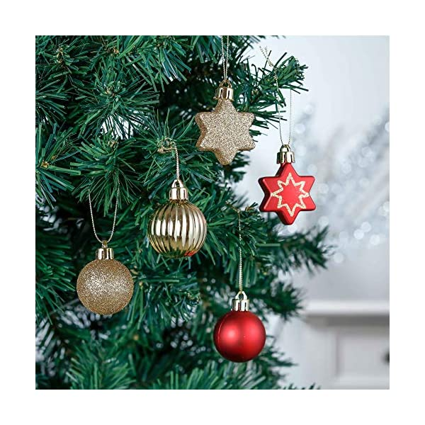 Valery Madelyn Palle di Natale 52 Pezzi di Palline di Natale, 3-5 cm Rosso e Oro Infrangibile Ornamenti di Palla di Natale Decorazione per la Decorazione Dell'Albero di Natale 5 spesavip