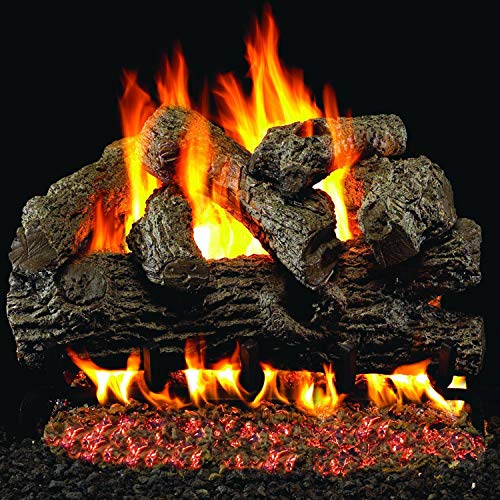 Peterson Real Fyre 24-inch Royal English Oak Gas Log Set With Vented Propane G45 Burner - Manual Safety Pilot