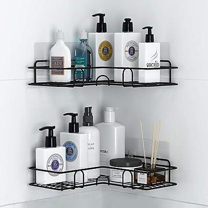 Estanteria Baño Ducha, Estantes de Baño, Carrito de Ducha a Prueba de Herrumbre con Adhesivo (Negro)