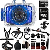 Vivitar DVR-783HD Blue 5.1MP Action Camcorder 1.8'' Touch Screen + 16GB MicroSD Memory Card + Reader + Head Mount + Wrist Mount + Dog Back Mount + Head Mount + Chest Mount + Monopod + 3pc Cleaning Kit