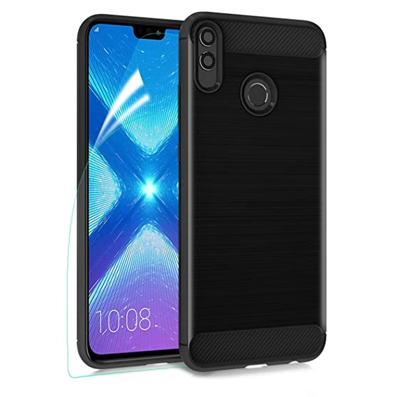 MMDcase for Huawei Honor 8X Case,Honor 8S Case with HD Screen Protector,  Carbon Fiber Soft TPU Phone Case Brushed Texture Anti-Fingerprint Flexible
