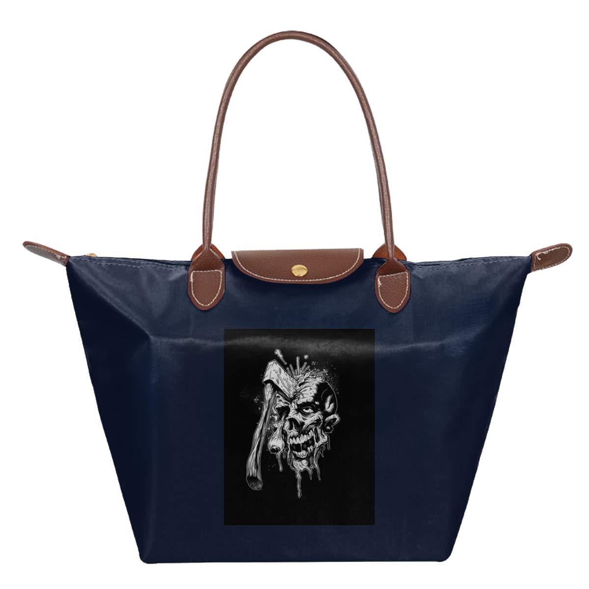 Skulls Skeleton Waterproof Leather Folded Messenger Nylon Bag Travel Tote Hopping Folding School Handbags