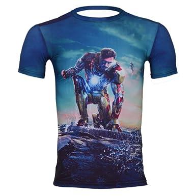 a1e93e52f Cody Lundin Men s Compression Superman Hero Short Sleeve T-Shirt Fitness  XXL Blue