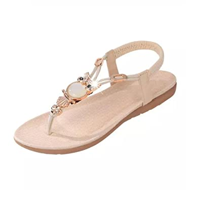 7fab2824d TAOFFEN Bohemian Beaded Women Flat Sandals Clip Toe Brand Quality Sexy  Sandals Fashion Ladies Shoes Size