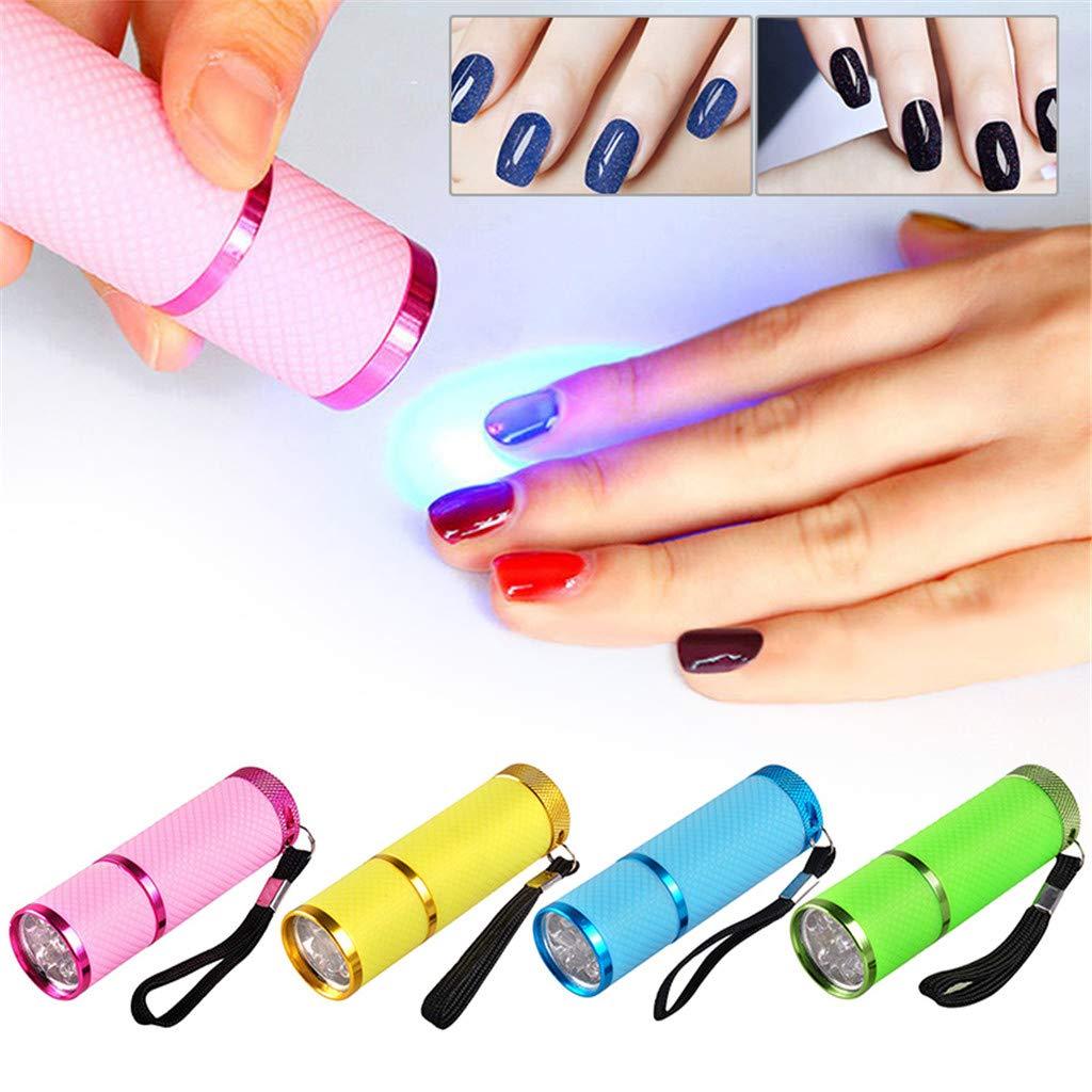 QIHONG Mini l/ámpara de linterna LED de luz UV secador de u/ñas port/átil para gel de u/ñas secado r/ápido esmalte de u/ñas l/ámpara de curado