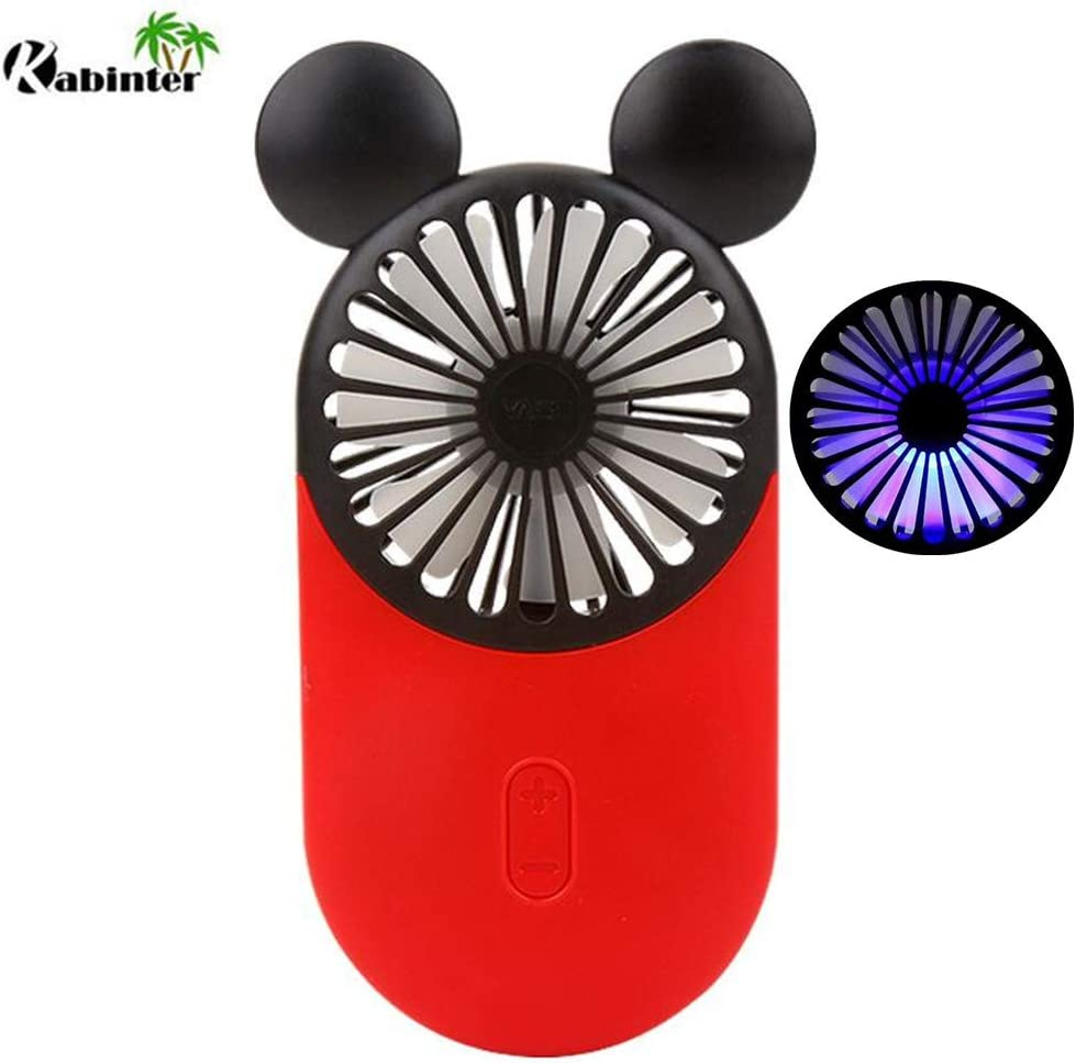 Kbinter Cute Personal Mini Fan, Handheld Portable USB Rechargeable Fan with Beautiful LED Light, 3 Adjustable Speeds, Portable Holder, for Indoor Or Outdoor Activities, Cute Mouse Red