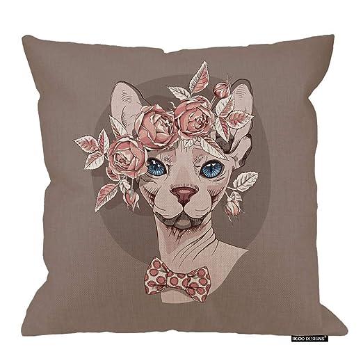 Funda de Almohada para Gato, Gracioso Gato Sphynx con una ...