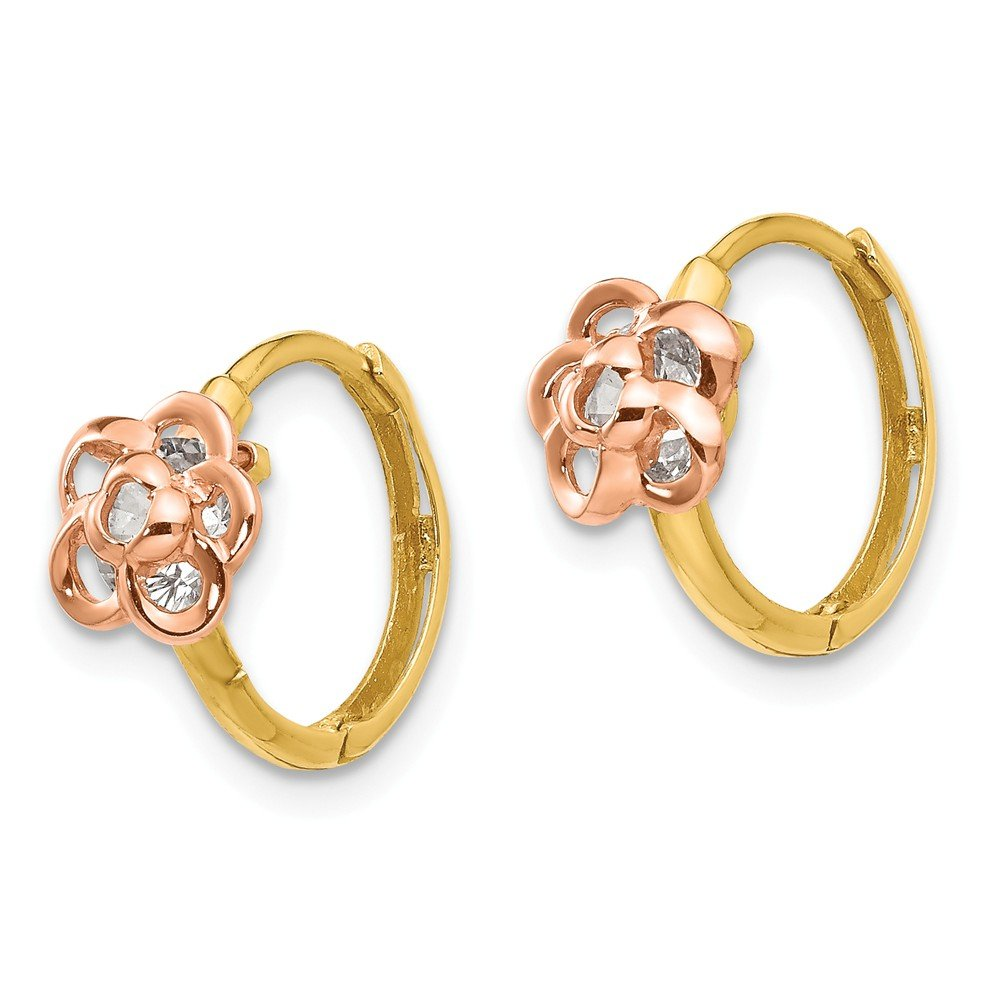 14K Rose And Yellow Gold Madi K Childrens 7 MM CZ Flower Hinged Huggie Hoop Earrings