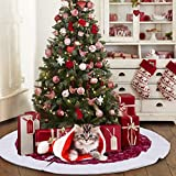 AerWo Snowflakes Christmas Tree Skirt 48 Inch Traditional Red and White Tree Skirt for Christmas Decorations