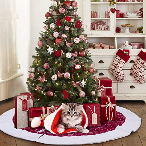 AerWo 48Inch Velvet Snowflake Christmas Tree Skirt 2018 New Year Christmas Decoration Disguises the Tree Stand and Offers Plenty of Space for the Christmas Gifts