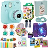 : Fujifilm Instax Mini 9 Camera Ice Blue (USA) + Accessories kit for Fujifilm Instax Mini 9 Camera Includes Instant Camera + Fuji Instax Film (20 PK) Galaxy Case + Frames + Selfie Lens + Album and More