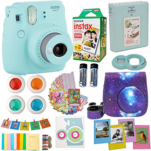 Fujifilm Instax Mini 9 Camera Ice Blue (USA) + Accessories kit for Fujifilm Instax Mini 9 Camera Includes Instant Camera + Fuji Instax Film (20 PK) Galaxy Case + Frames + Selfie Lens + Album and More (Best Polaroid Camera Of All Time)