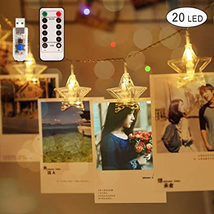 Amazon Com Aitrip Dimmable 20 Led Star Photo Clips String