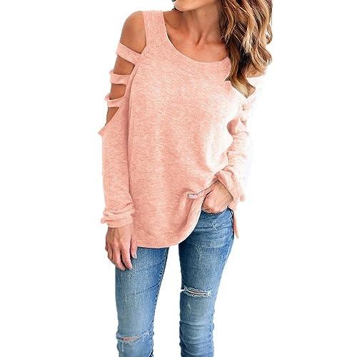 Landove - Camisas - Túnica - Cuello redondo - Manga Larga - para mujer Rose Medium