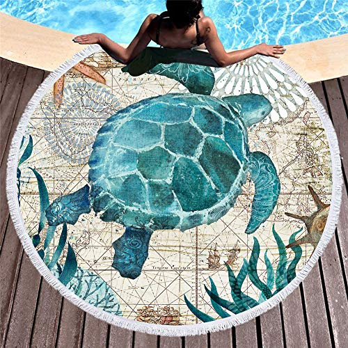 panlen 2019 Updated Thick Round Beach Towel Blanket with Tassels, Sea Turtle Soft Quick Dry, Picnic Table Cover, Round Tapestry, Round Beach Towels, Tablecloth (Seaturtle) (Best Quality Bath Towels 2019)