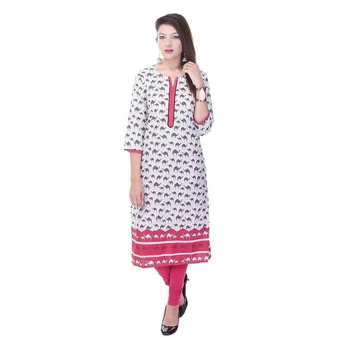 e8e2db8b772 Vihaan Impex Indian Kurtis for Women Kurti Kurtas for Women Bust Size 38  inches White Kurti