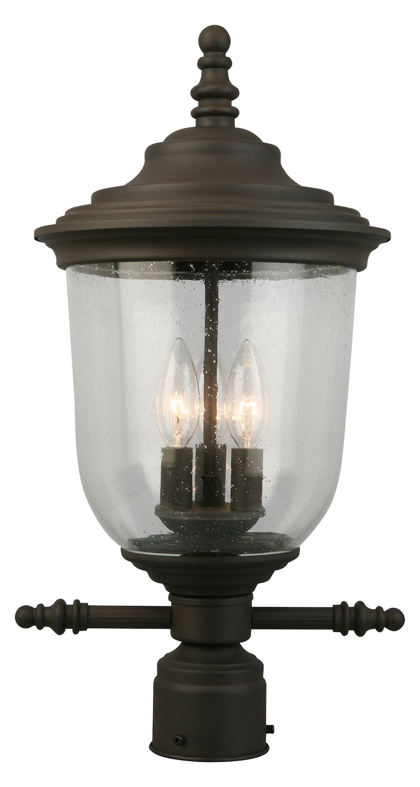 3X60W Outdoor Post Light W/ Matte Bronze Finish & Clear Seeded Glass