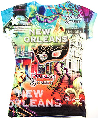 Sweet Gisele Womens New Orleans Souvenir Graphic Printed Tshirt Tops Blouse (Large, Yellow/Green)