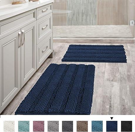 Amazon Com Navy Blue Bathroom Rugs Slip Resistant Extra Absorbent