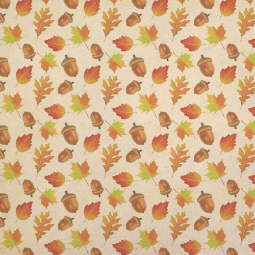 Autumn Leaves Gift Box (Autumn Leaves and Acorn Kraft Present Gift Wrap Wrapping Paper)