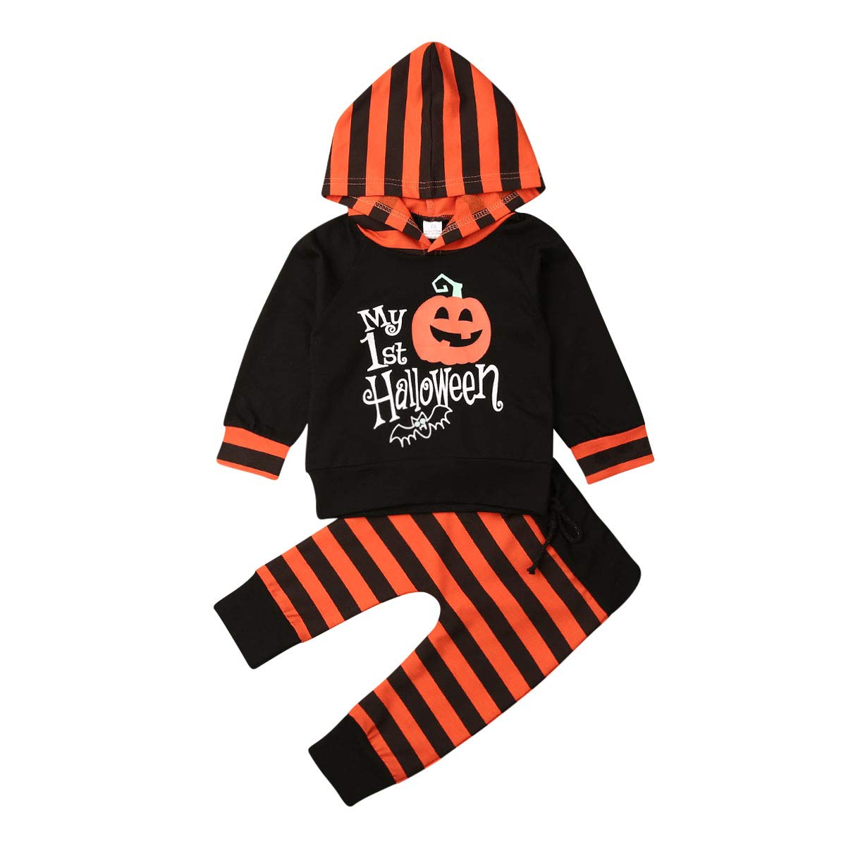 Newborn My First Halloween Outfits Baby Boy Girl Pumpkin Hoodie Romper One Piece Hooded Jumpsuit Clothing