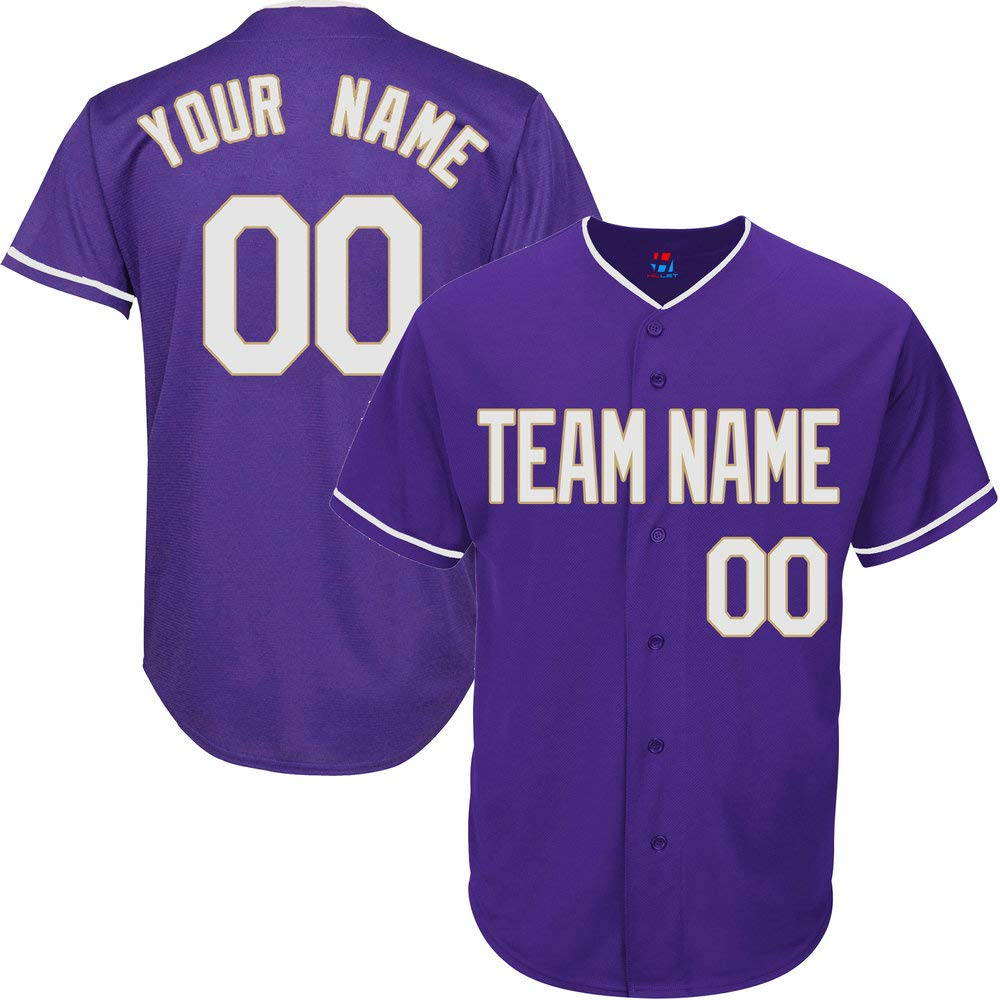 Purple Customized Baseball Jersey for Men Big and Tall Throwback Stitched Team Player Name & Numbers,White-Gold Size 7XL by Pullonsy
