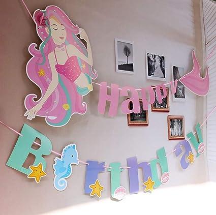 Amazon.com: MosBug – Pancarta de sirena para cumpleaños ...
