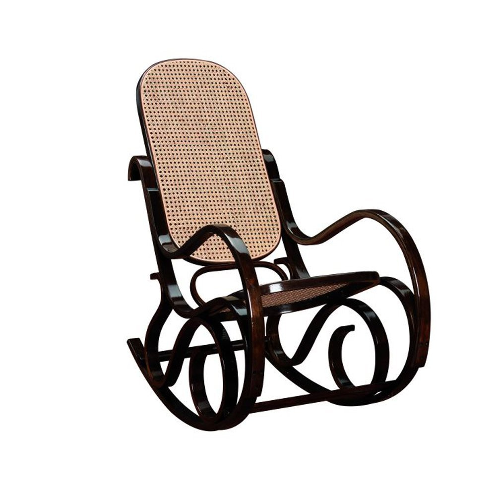 Rocking chair teinté noyer -Assise et dossier canné - Dim L.535 x P.920 x Ht.940 x Ht. Ass. 350 mm -PEGANE-