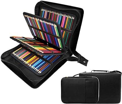 YsinoBear - Estuche para lápices y lápices (200 + 16 compartimentos, incluye estuche para lápices de acuarela, lápices de colores Crayola, rotuladores de marco y pincel cosmético), color negro: Amazon.es: Oficina y papelería