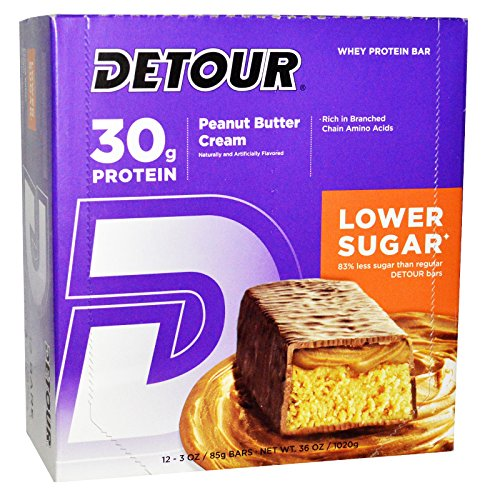 Detour, Whey Protein Bars, Peanut Butter Cream, 12 Bars, 3 oz (85 g) Each - 2pc
