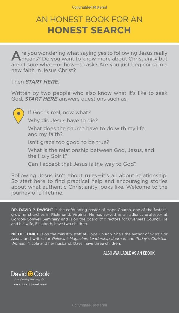 Start here beginning a relationship with jesus david dwight start here beginning a relationship with jesus david dwight nicole unice 9781434707314 amazon books fandeluxe Choice Image