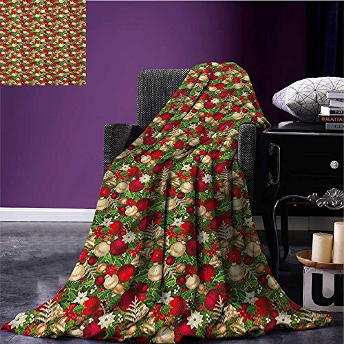 Christmas Throw Blanket Tree Branches Balls Bells Cones Poinsettia Flowers Mistletoe Berry Miracle Blanket Gold White Red and Green Size:51