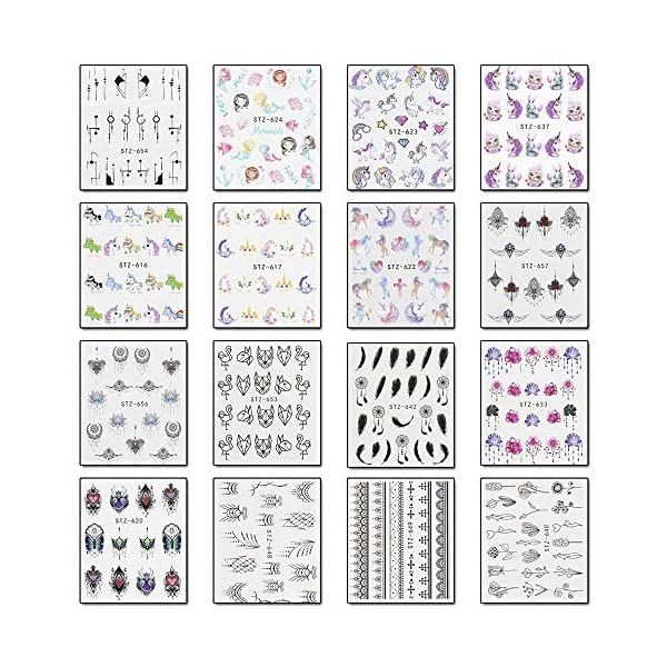 WOKOTO 40 Sheets Water Transfer Nail Art Decals With 1Pcs Tweezers Unicorn Flower Feather Nail Wraps Sticker Manicure Kits For Women 7