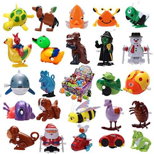Joyin Toy 24 Pieces Assorted Wind-up Toys Easter Egg Stuffer for Kids Party Favors (2 Dozen) 24 Kids Plastic Car