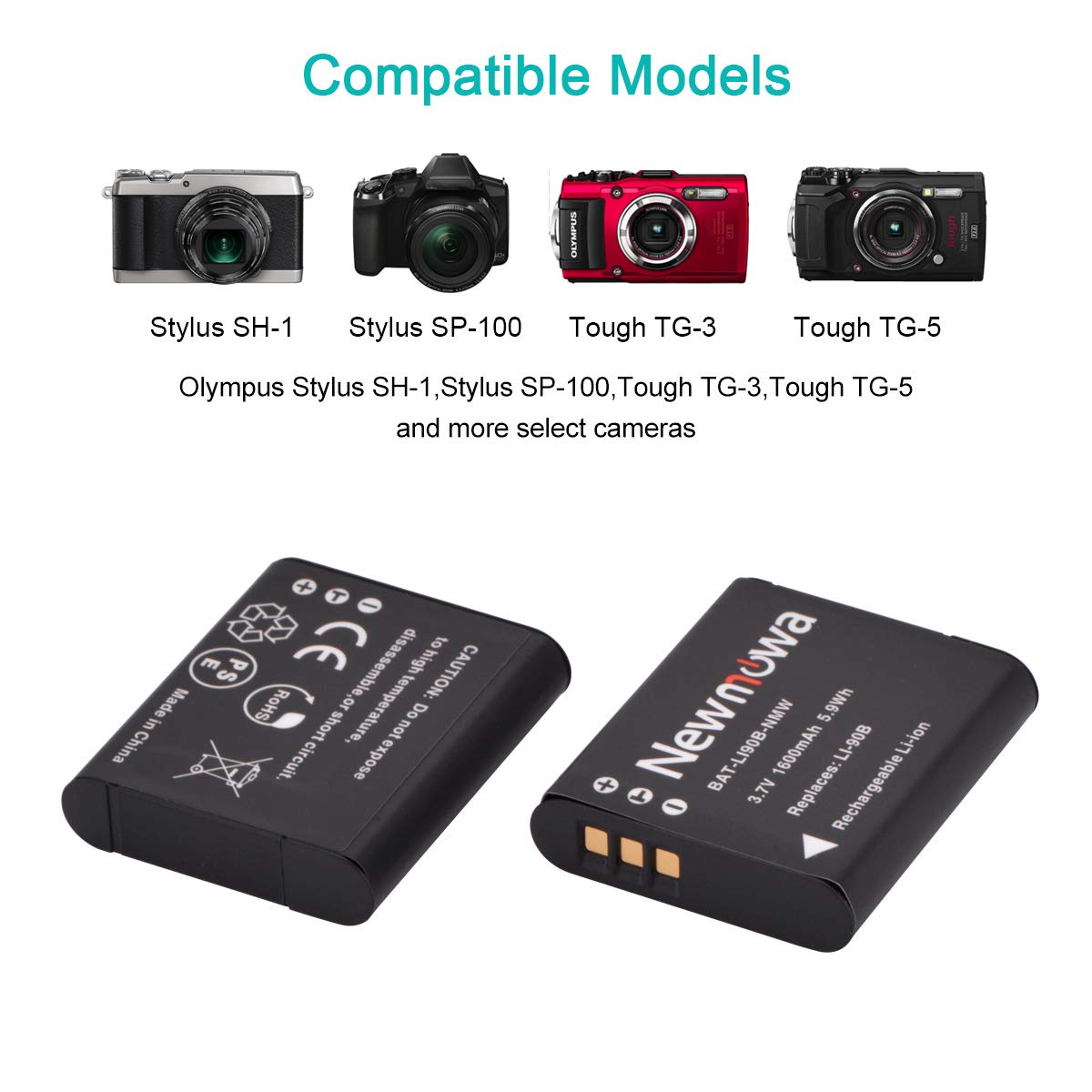 Newmowa LI-90B Bater/ía 2-Pack y Kit Cargador Micro USB port/átil para Olympus SH-1 SH-50 iHS SH-60 SP-100 SP-100EE Tough TG-1 TG-2 TG-3 XZ-2 iHS
