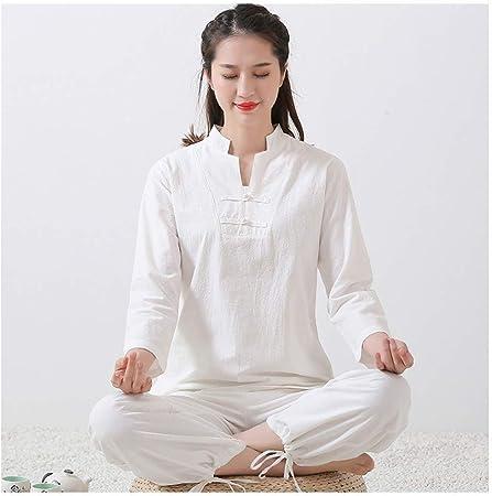 AYAYA Ropa De Meditación para Mujer Ropa De Yoga Estilo Chino Traje De Meditación Conjunto De 2 Piezas De Algodón Y Lino,White-S: Amazon.es: Hogar
