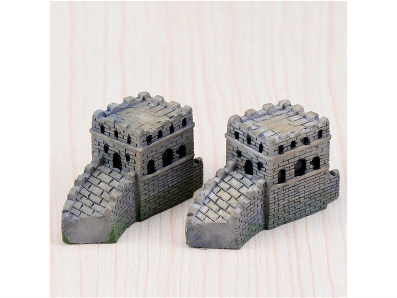Kxrzu Groß 2 Stücke Miniatur Chinesische Große Mauer Ornament Micro Landschaft für Garten Dekoration (Grau)