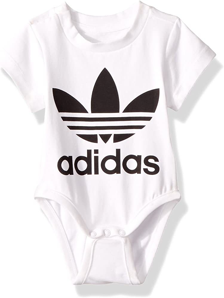 454feab5e23 Amazon.com: adidas Originals Baby Infant Trefoil Onesie, White/Black ...