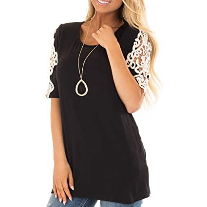 Women Shirts Short Sleeve Lace Patchwork Tunics Tees Summer Tunic Top Casual Cute Funny T-