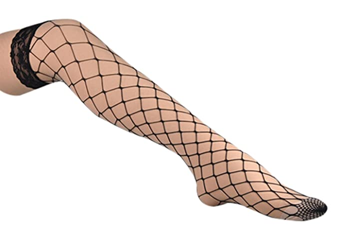 8031d5035 Women s Large Mesh Fishnet Thigh High Stockings Elastic Over Knee Socks  with Silicone Lace Top (
