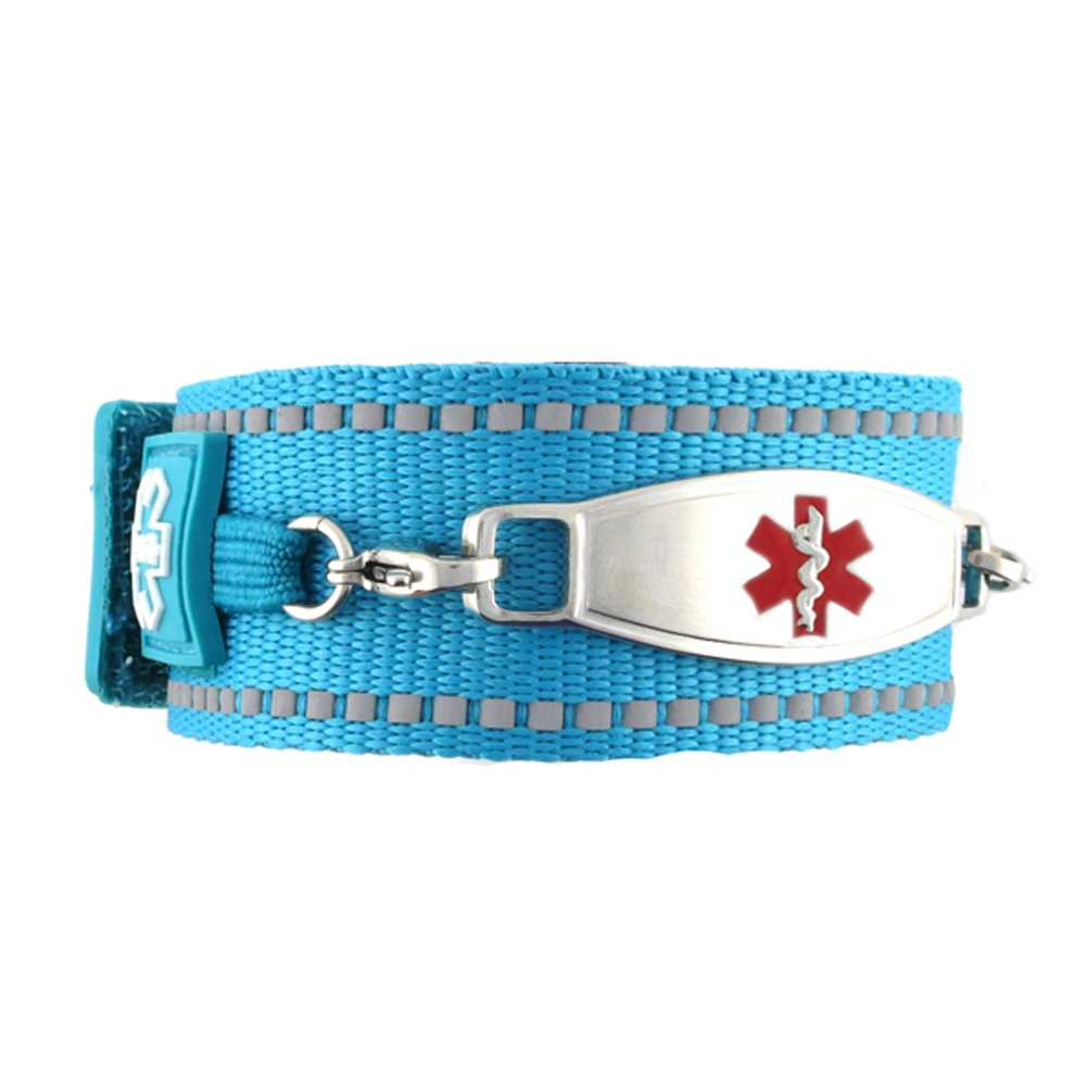Waterproof Medical Alert ID Bracelet - Custom Engraving Included - Active, Sports -Turquoise Bracelet/Red (M)