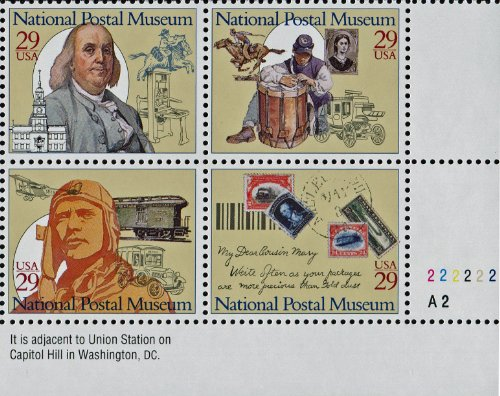 NATIONAL POSTAL MUSEUM ~ OLD CITY POST OFFICE BUILDING ~ BENJAMIN FRANKLIN ~ CIVIL WAR ~ PONY EXPRESS ~ AIR MAIL #2782a Plate Block of 4 x 29¢ US Postage Stamps Airmail Plate Block