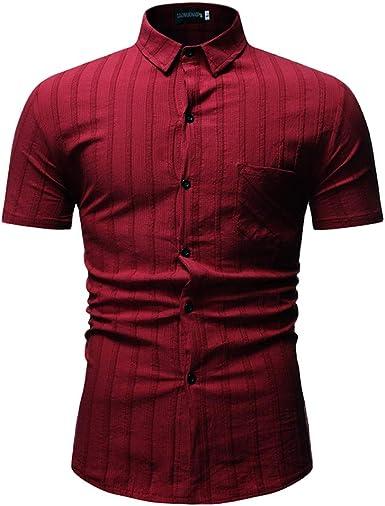 beautyjourney Camisetas de Manga Corta a Rayas para Hombre Camiseta Casual de Cuello Alto con Cuello Alto de Verano Camisa de Trabajo de Negocios Camisa Deportiva de Color Liso Delgado: Amazon.es: Ropa