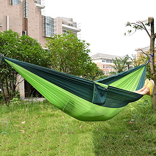 JHD Portable Parachute Nylon Fabric Travel Camping Hammock for Two Person (Big Size Blackish Green And Apple Green)