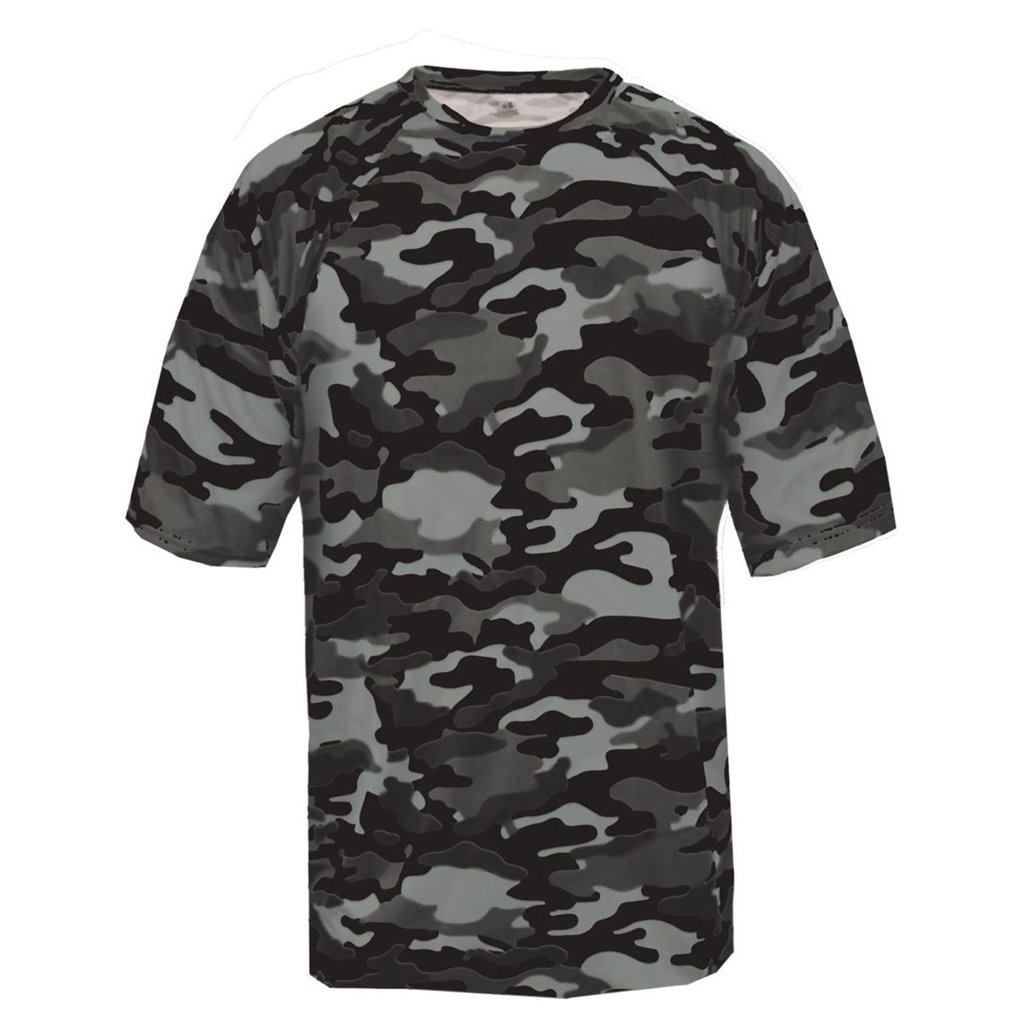 Badger Sport Youth Camouflage Tee (X-Small, Black Camo)