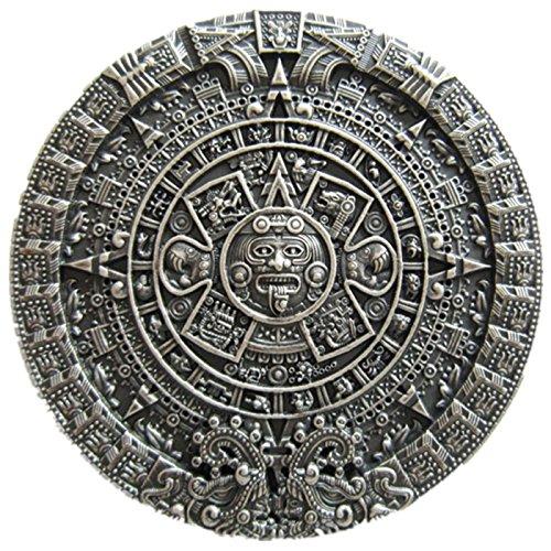 Classic JEAN'S FRIEND Vintage Silver Plated Aztec Calendar Belt Buckle ()
